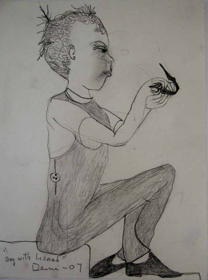 Boy with Lizard 2007 pencil on paper, 13x10 in-DEMI