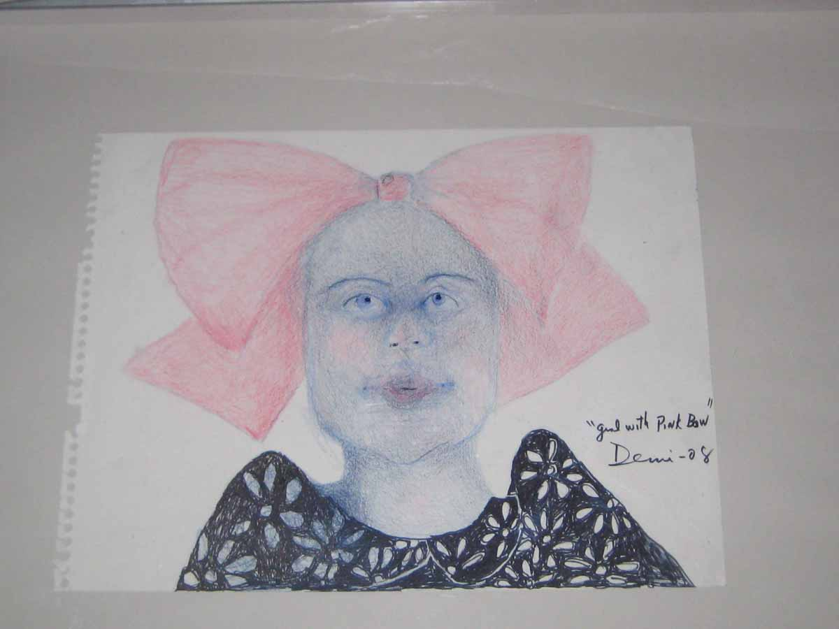 Girl with Pink Bow 2008 color pencil on paper 10x13 in DEMI
