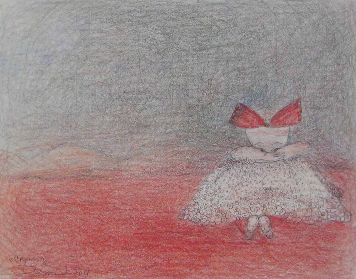 Llorando, 2011, color pencil on paper, 10x13 in DEMI