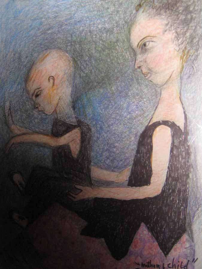 Mother and Child, 2011, color pencil on paper, 13x10 in  DEMI