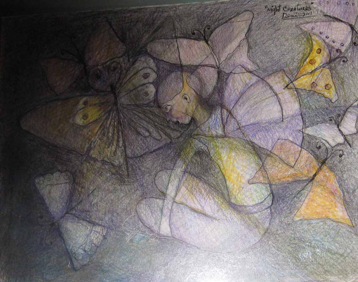 Night Creatures,2011, color pencils on paper, 10x13 in  DEMI
