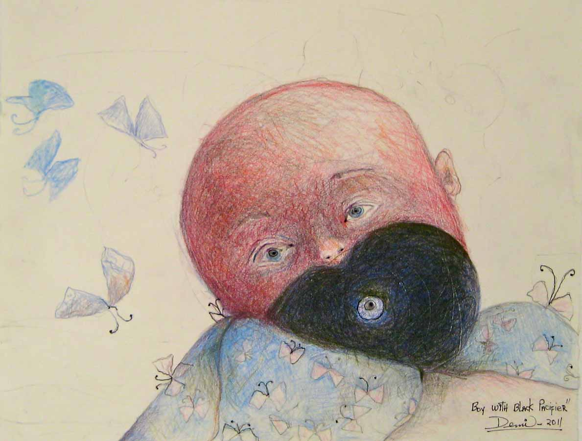 Nino con Tete negro (Child with black pacifier), 2011, color pencils on paper, 10x13 in DEMI