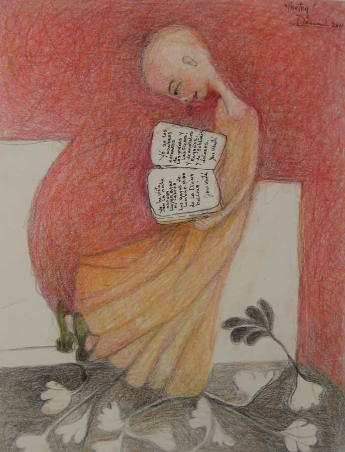 Poetry,2011, color pencils on paper, 13x10 in DEMI
